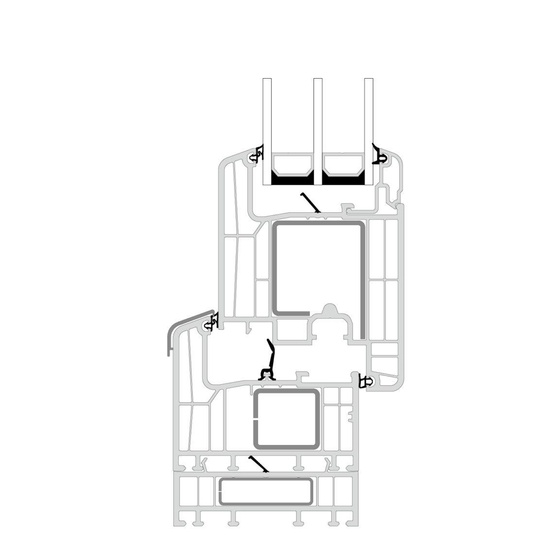 Nor Dan upvc door profile E Passive folding
